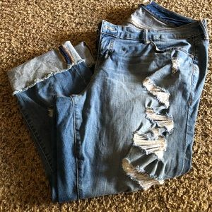 Torrid Boyfriend Style Distressed Crop Jeans